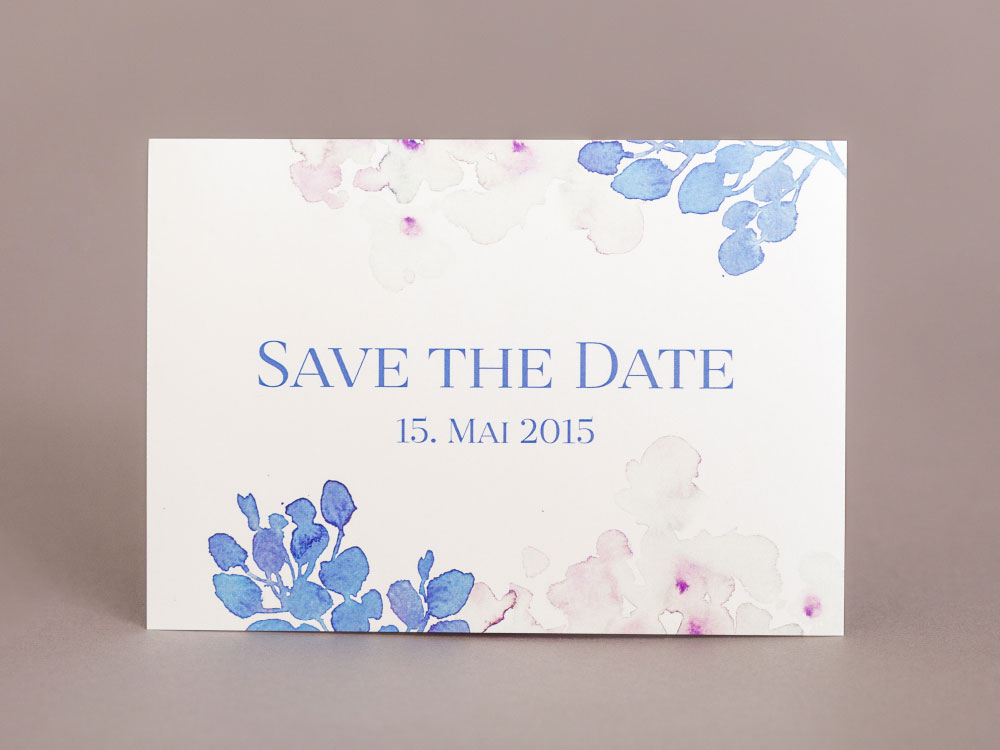 save the date karte blue blossom prettycards. Black Bedroom Furniture Sets. Home Design Ideas
